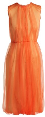 Prada Jersey And Tulle Sleeveless Dress - Womens - Orange Multi