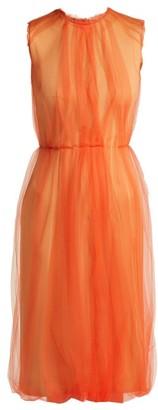 Prada - Jersey And Tulle Sleeveless Dress - Womens - Orange Multi