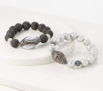 Susan Graver Set of 2 Cultured Pearl & Crystal Bracelets