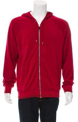 Gucci Web-Trimmed Zip-Front Hoodie