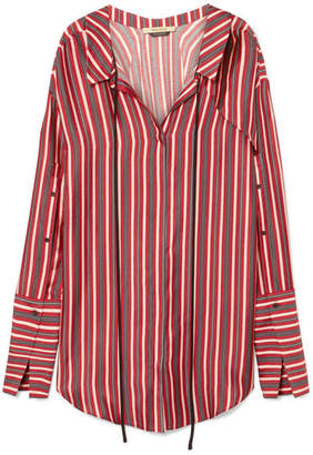 Hellessy Hutton Striped Silk And Cotton-blend Mini Shirt Dress - Red