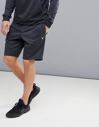 Lyle & Scott Fitness fitness randall fleece shorts in black