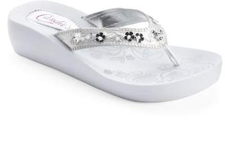 Candies Candie's Women's Floral Simulated Pearl Wedge Flip-Flops
