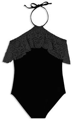 Gossip Girl Girls' Festival Crochet-Ruffle Swimsuit - Big Kid