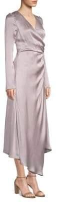 AMUR Iris Silk Wrap Dress