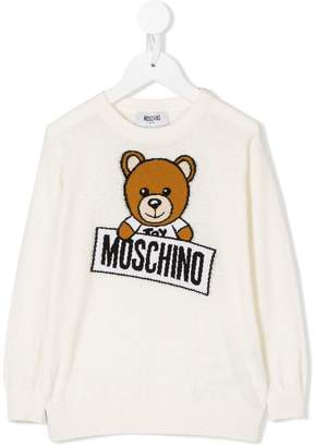 Moschino Kids bear logo intarsia sweater