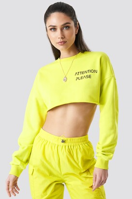 NA-KD Anna Nooshin X Attention Please Raw Cropped Sweater Lime