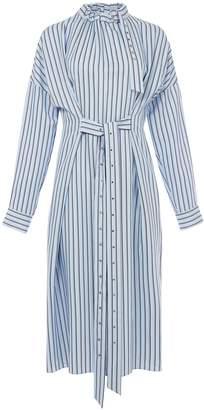 Tibi Viscose Stripe Buckle Dolman Dress