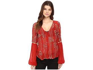 Free People Viscose Gorgette Firecracker Embellished Top Women's Long Sleeve Button Up