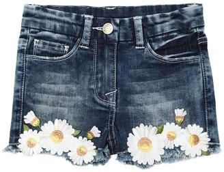 MonnaLisa Stretch Cotton Denim Shorts W/ Daisies