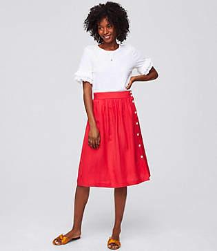 LOFT Side Button Midi Skirt