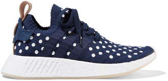 adidas Originals - Nmd_r2 Leather-trimmed Polka-dot Primeknit Sneakers - Storm blue $170 thestylecure.com