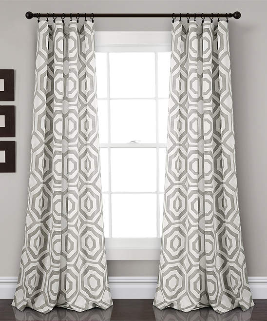 Gray Octagon Block Room-Darkening Curtain Panel - Set of Two
