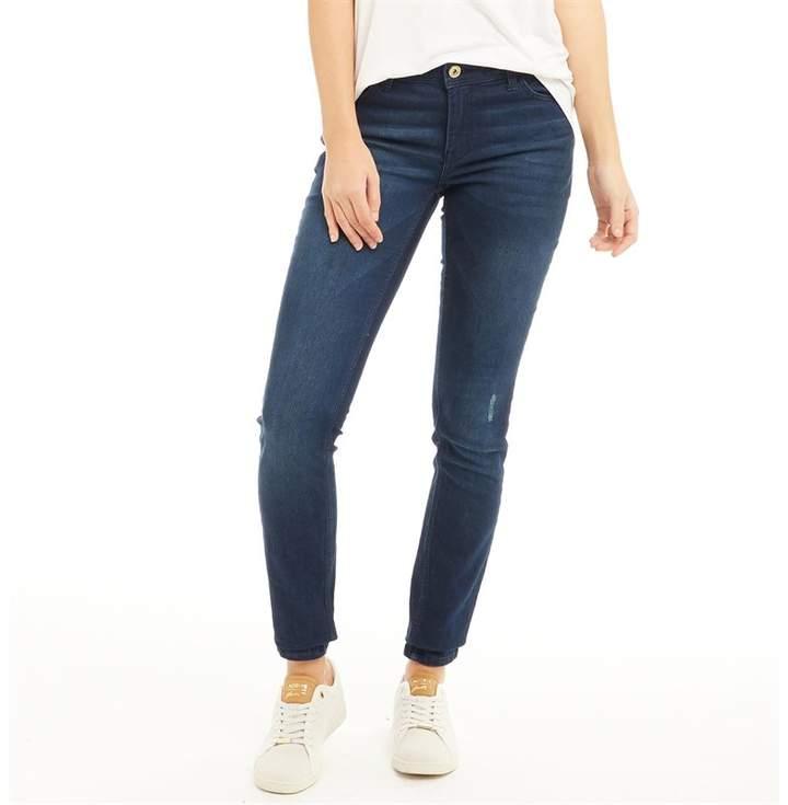 Womens Flora Raw Wash Skinny Jeans Dark Blue Denim
