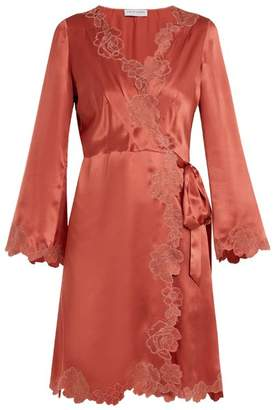 Carine Gilson Lace Trimmed Silk Satin Robe - Womens - Dark Pink
