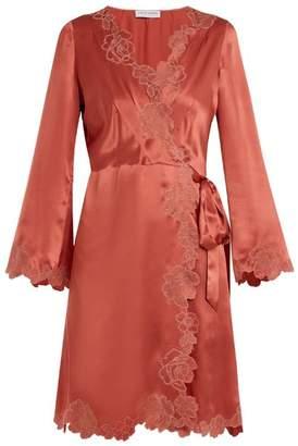 Carine Gilson - Lace Trimmed Silk Satin Robe - Womens - Dark Pink