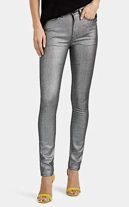 Saint Laurent Women's Metallic Skinny Jeans - Silver