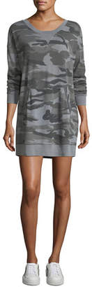 Splendid Camo-Print Crewneck Sweatshirt Dress