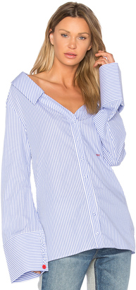 OFF-WHITE Striped Off The Shoulder Top $665 thestylecure.com