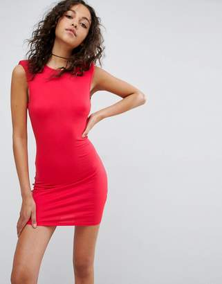 Asos Mini Dress With Low Back And Shoulder Pads