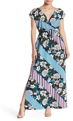 Bobeau Floral Stripe Surplice Dolman Maxi Dress