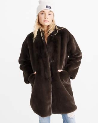 Abercrombie & Fitch Luxe Faux Fur Coat