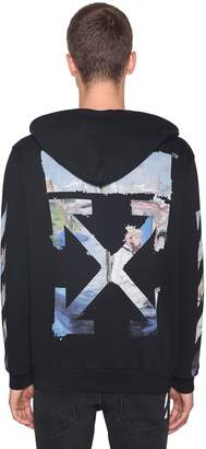 Off-White Off White Printed Arrow Cotton Jersey Hoodie