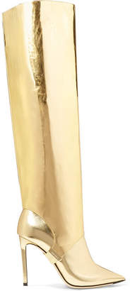 Jimmy Choo Hurley 100 Convertible Metallic Mirrored-leather Knee Boots - Gold