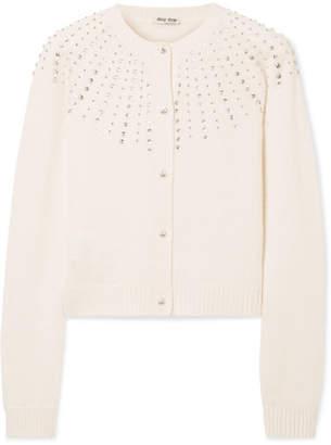 Miu Miu Crystal-embellished Cashmere Cardigan - Ivory