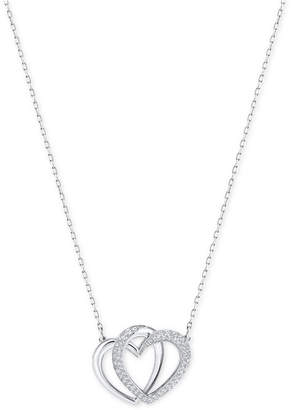 Swarovski Silver-Tone Pave Entwined Hearts Pendant Necklace