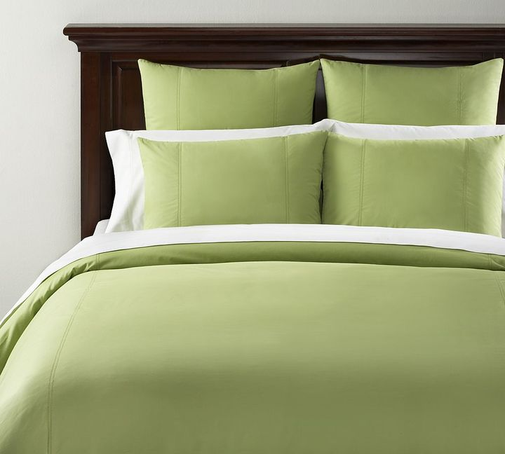 Organic Hemstitch Duvet Cover & Sham - Lime Green