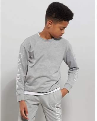 Calvin Klein Long Sleeve Logo Crew Top Junior