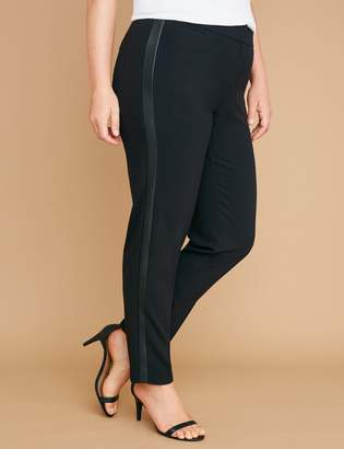 Lane Bryant Allie Tailored Stretch Ankle Pant - Faux Leather Side Stripe