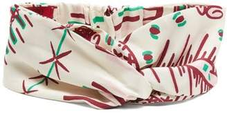 Valentino Graphic Print Silk Headband - Womens - White Multi