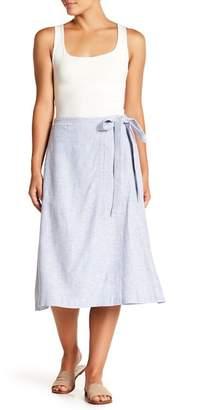 BCBGMAXAZRIA Midi Wrap Linen Blend Skirt