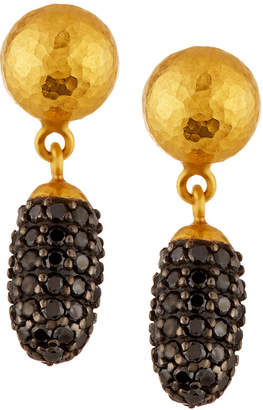 Gurhan 24k Small Cocoon Black Diamond Pavé Drop Earrings AdUoURu
