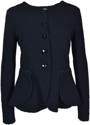 Armani Collezioni Wavy Single-Breasted Woven Jacket