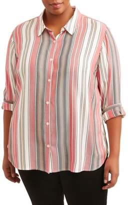 Como Blu Women's Plus Size Striped Button Down Woven Top