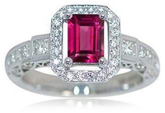 575 Denim TVS-JEWELS 925 Silver Platinum Plated Emerald Rhodolite Pink Solitaire With Accents Wedding Ring (10.5)