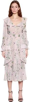 Self-Portrait Asymmetrical Floral Chiffon Midi Dress