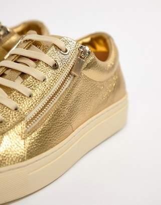 HUGO Futurism Leather Zip Sneakers in Gold