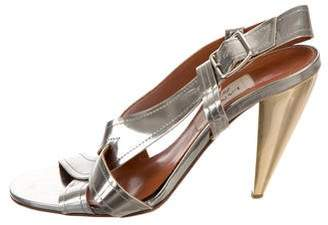 Lanvin Metallic Patent Leather Sandals