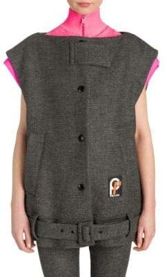 Prada Women's Oversized Wool Vest - Grey Pink - Size 36 (0)