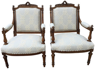 One Kings Lane Vintage Italian Chairs with Embroidered Linen - Pr - Chez Marie Antiques