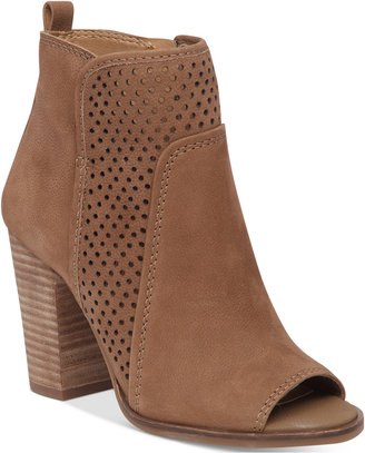Lucky Brand Women's Lakmeh Peep-Toe Perforated Booties Women's Shoes $129 thestylecure.com