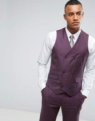 Asos Design Skinny Suit Waistcoat in 100% Wool In Dusky Purple