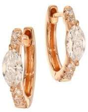 Anita Ko Marquis Diamond& 18K Rose Gold Huggie Earrings