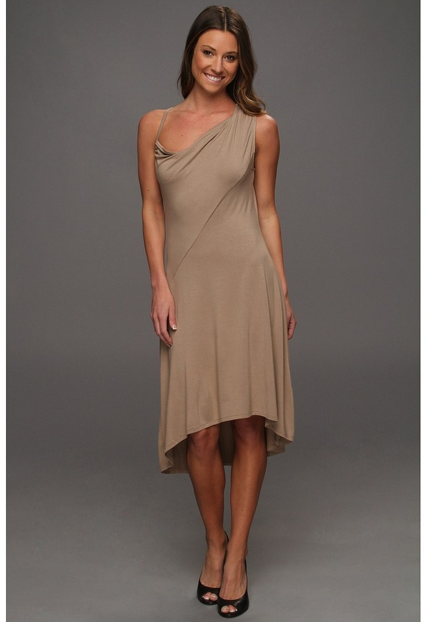 DKNY One Shoulder High-Low Hem Dress (Rye) - Apparel