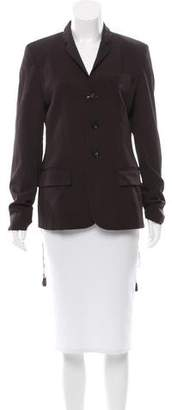 Jean Paul Gaultier Leather-Accented Wool Blazer $295 thestylecure.com