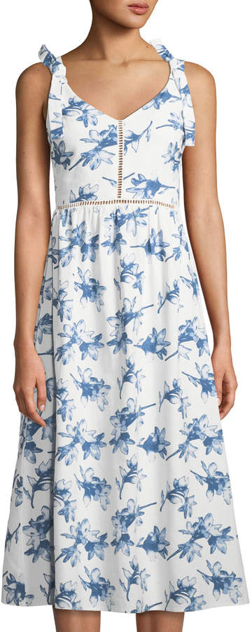 J.o.a. Floral Sleeveless A-line Midi Dress